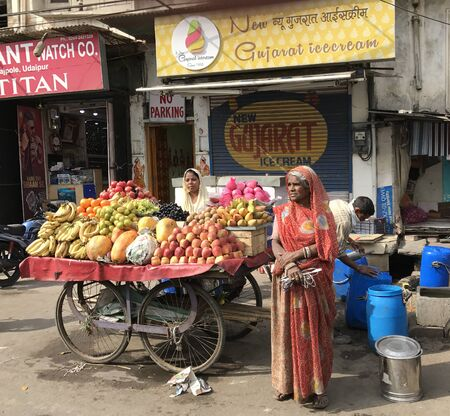 wares: UDAIPUR, INDIA - JANUARY 14, 2017: Street Vendors with Fruit and Vegetable Cart. Many people make their living selling their wares from carts in the street. Editorial