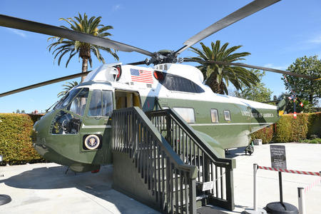 linda: YORBA LINDA, CALIFORNIA - FEBRUARY 24, 2017: Marine One Nixon Library. The helicopter was used by 4 presidents, Kennedy, Johnson, Nixon and Ford. Editorial