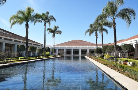 linda: YORBA LINDA, CALIFORNIA - FEBRUARY 24, 2017: Reflecting Pool at the Richard Nixon Library and Birthplace. The presidential library and museum and final resting place of the 37th president.