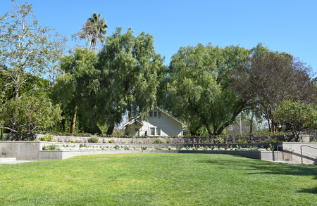 linda: YORBA LINDA, CALIFORNIA - FEBRUARY 24, 2017: Richard Nixon Birthplace and Library Grounds. The home was built by the future presidents father in 1912. Editorial