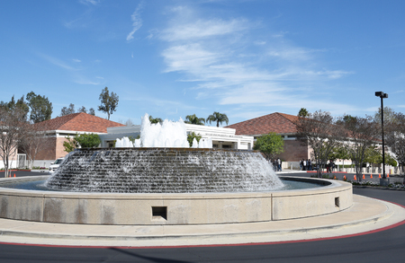 linda: YORBA LINDA, CALIFORNIA - FEBRUARY 24, 2017: Fountain at the Richard Nixon Library and Birthplace. The presidential library and museum and final resting place of the 37th president.