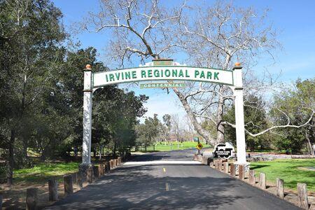 ORANGE, CALIFORNIA - FEBRUARY 24, 2017: Irvine Regional Park Centennial sign. Founded on land donated by James Irvine, it is the oldest regional park in California. Redakční