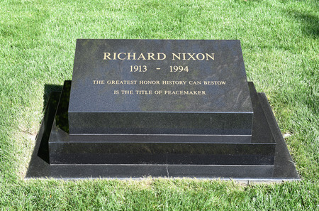 linda: YORBA LINDA, CALIFORNIA - FEBRUARY 24, 2017: President Richard M Nixon Grave marker. The 37th president and his wife are buried at the Nixon Library and Birthplace.