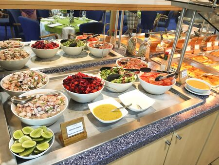 pinta: GALAPAGOS, ECUADOR, FEBRUARY 15, 2017: Ceviche Bar on the luxury yacht La Pinta. The cruise ship offers luxury accommodations and fine dining for its guests. Editorial
