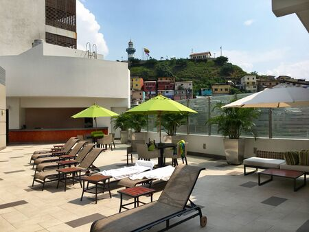 lounges: GUAYAQUIL, ECUADOR - FEBRUARY 15, 2017:  Wyndham Hotel Guayaquil. Situated just steps from the historic Santa Ana Hill and its famous Lighthouse.