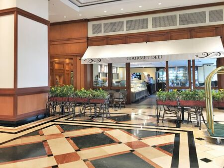 GUAYAQUIL, ECUADOR - FEBRUARY 15, 2017:  Oro Verde Hotel Lobby Cafe. Its downtown location is  within walking distance of the cathedral and the Malecon 2000 waterfront. Redakční