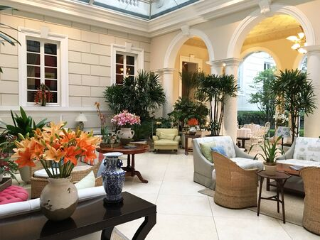 QUITO, ECUADOR - FEBRUARY 22, 2017: Casa Gangotena Lounge. In a restored historic mansion overlooking Plaza San Francisco, the three-story Boutique Hotel has 31 elegant rooms.
