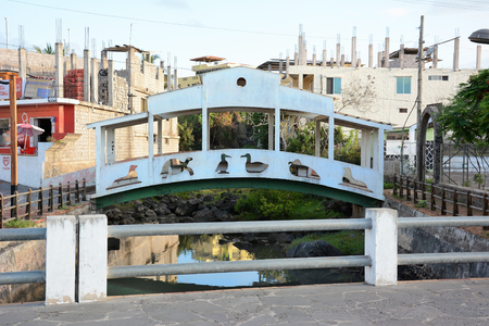 outs: SAN CRISTOBAL ISLAND, GALAPAGOS - FEBRUARY 17, 2017: Foot Bridge Animal Cut Outs. in Puerto Baquerizo Moreno, the capital of the Galapagos Archipelago. Editorial