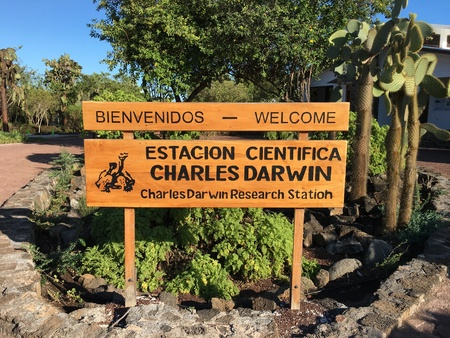 GALAPAGOS, ECUADOR, FEBRUARY 20, 2017: Welcome sign at the Charles Darwin Research Station. The station was founded in 1959, under the auspices of UNESCO and the World Conservation Union.