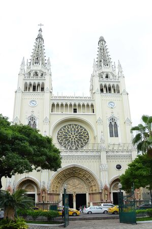 officially: GUAYAQUIL, ECUADOR - FEBRUARY 15, 2017: Guayaquil Metropolitan Cathedral. Officially the Cathedral of Saint Peter, was constructed in a neo-Gothic style between 1924 and 1937 Editorial