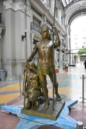 eduardo: GUAYAQUIL, ECUADOR - FEBRUARY 15, 2017: Guayas and Quil Statue in the Eduardo Arosemena Passage at the Municipal Palace. The native pairs names were merged to name the city.