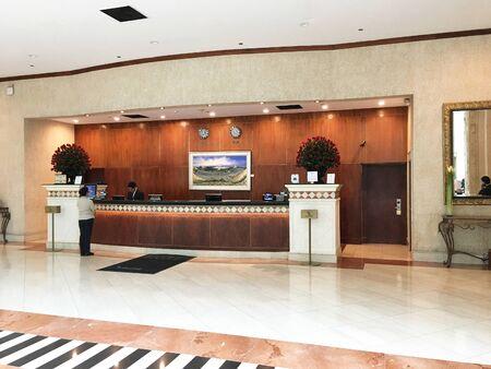 QUITO, ECUADOR - FEBRUARY 22, 2017: JW Marriott Quito Registration Desk. The luxury hotel features tropical gardens in Quitos financial and entertainment district. Redakční