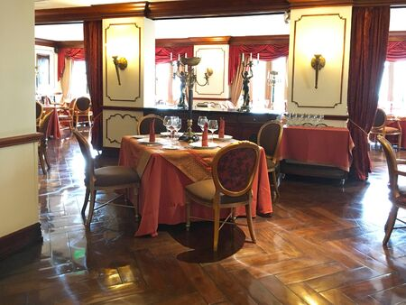 luxuries: QUITO, ECUADOR - FEBRUARY 22, 2017: Plaza Grande Hotel La Belle Epoque Restaurant. With stunning views of Quito's Old Town, it offers a menu of French cuisine with Ecuadorian ingredients. Editorial