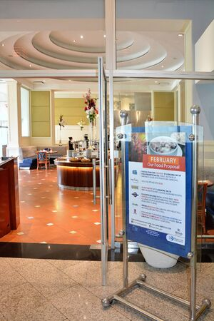 GUAYAQUIL, ECUADOR - FEBRUARY 15, 2017: Wyndham Guayaquil Hotel Rio Grande Restaurant. The hotel is situated just steps from the historic Santa Ana Hill and its famous Lighthouse.