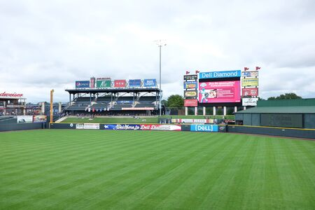 outfield: ROUND ROCK, TEXAS - MAY 22, 21017: Dell Diamond Stadium. The field is home to the minor league Round Rock Express the AAA affiliate of the Texas Rangers.