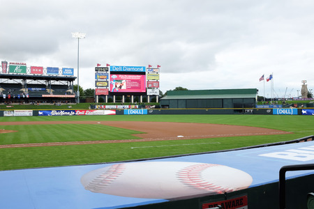 ROUND ROCK, TEXAS - MAY 22, 21017: Dell Diamond Stadium. The field is home to the minor league Round Rock Express the AAA affiliate of the Texas Rangers. Stock Photo - 79203438