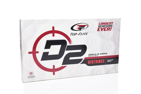 IRVINE, CA - MAY 31, 2017: Top Flite Golf Balls. A 15 count box of D2 golf balls from Top Flite which has been owned by Dicks Sporting Goods since 2012. Editorial