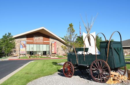 cody: CODY, WYOMING - JUNE 24, 2017: Chuckwagon at Buffalo Bill Center of the West. A complex of five museums and a research library featuring natural history, art and artifacts of the American West. Editorial