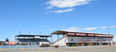cody: CODY, WYOMING - JUNE 24, 2017: Cody Stampede Park arena. Cody is the Rodeo Capitol of the World. 2017 marks 79th anniversary of nightly performances.