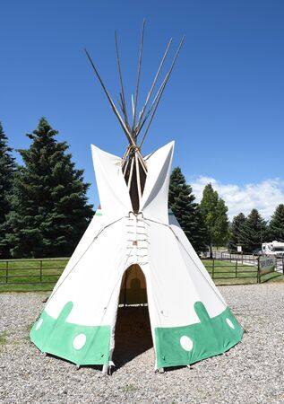 CODY, WYOMING - JUNE 24, 2017: Tepee at Buffalo Bill Center of the West. A complex of five museums and a research library featuring art and artifacts of the American West. Editorial