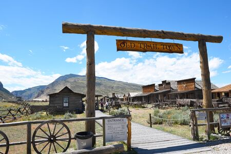 CODY, WYOMING - JUNE 24, 2017: Old Trail Town Entrance. The collection of historic building is where Buffalo Bill Cody surveyed for the first town site for Cody in 1895.