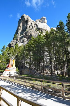 mount rushmore: KEYSTONE, SOUTH DAKOTA - JUNE 23, 2017: Youth Exploration Area at Mount Rushmore. The area at the base of the monument is a multi-use facility for kid-friendly activities.