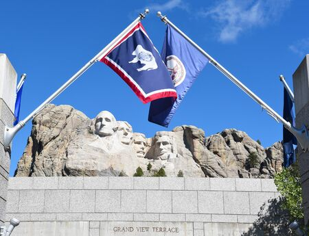 mount rushmore: KEYSTONE, SOUTH DAKOTA - JUNE 23, 2017: Mount Rushmore National Memorial. Gutzon Borglums tribute presidents George Washington, Thomas Jefferson, Theodore Roosevelt and Abraham Lincoln.