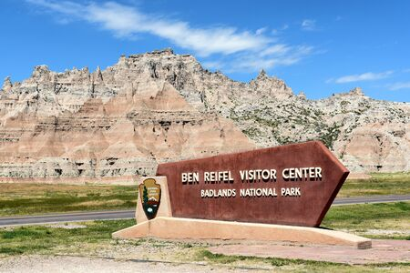 BADLANDS NATIONAL PARK, SOUTH DAKOTA - JUNE 22, 2017: Ben Reifel Visitor Center sign. The facility is the parks main visitor center.