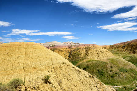 The Yellow Mounds area of Badlands National Park. The mounds are an example of a fossil soil, or paleosol.