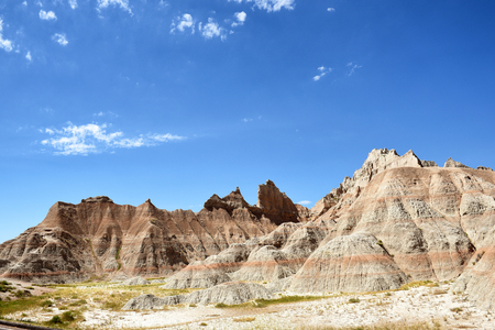 Landscape on a sunny day in the Badlands National Park, South Dakota.