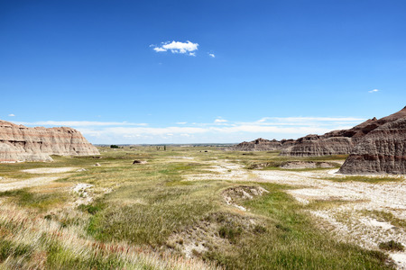 Badlands National Park. The park's 244,000 acres protect an expanse of mixed-grass prairie that support bison, bighorn sheep, prairie dogs, and black-footed ferrets. Stock Photo