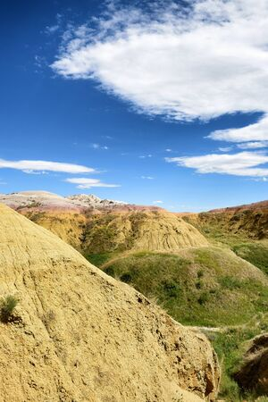 soil erosion: The Yellow Mounds area of Badlands National Park. The mounds are an example of a fossil soil, or paleosol.