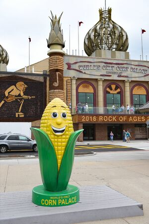 MITCHELL, SOUTH DAKOTA - JUNE 22, 2017: The Corn Palace. Built in 1892 as a way for farmers to display their bounty to prove the fertility of the soil to attract immigrant farmers to settle there. Editorial