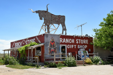 CACTUS FLATS, SOUTH DAKOTA - JUNE 22, 2017: The Ranch Store, home of the 12 foot Prairie Dog and where travelers can stop and purchase unsalted peanuts to feed prairie dogs on the property.
