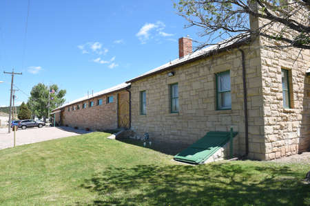 NEWCASTLE, WYOMING - JUNE 23, 2017: Anna Miller Museum. Housed in the Wyoming Army National Guard Cavalry Stable, the last calvary stable in Wyoming.