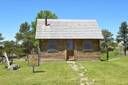 NEWCASTLE, WYOMING - JUNE 23, 2017: Anna Miller Museum Cabin. The main museum is housed in the Wyoming Army National Guard Cavalry Stable, the last calvary stable in Wyoming. Editorial