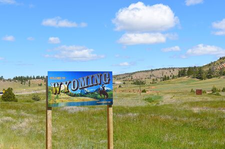 WESTON COUNTY, WYOMING - JUNE 23, 2017: Wyoming Welcome Sign. The sign is posted US16 near the border of South Dakota and Wyoming. Editorial