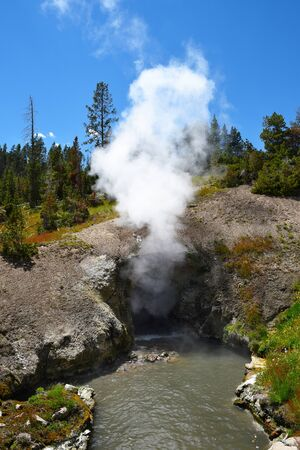 Dragons Mouth Spring, Yellowstone National Park, Wyoming. Stock Photo
