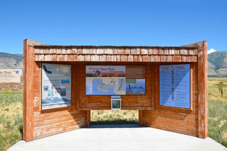 BRIGHAM CITY, UTAH - JUNE 28, 2017: Bear River Migratory Bird Refuge info kiosk. The refuge covers the Bear River and its delta where it flows into the northern part of the Great Salt Lake. Editorial