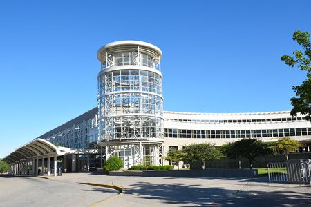 SALT LAKE CITY, UTAH - JUNE 29, 2017: The Calvin L. Rampton Salt Palace Convention Center. Named after Utahs 11th governor, it is commonly called the Salt Palace.