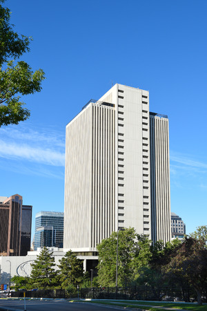 lds: SALT LAKE CITY, UTAH - JUNE 29, 2017: LDS Office Building. Headquarters for the Church of Latter-day Saints, the 26th floor observation deck provides views of the Salt Lake Valley.