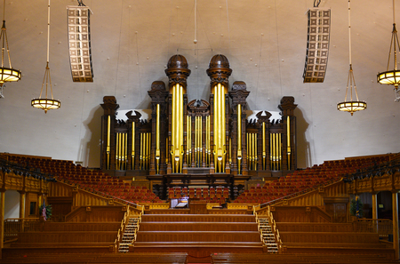 lds: SALT LAKE CITY, UTAH - JUNE 28, 2017: Tabernacle interior. The pipe organ where the Mormon Tabernacle Choir practices and performs. Editorial