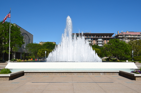 lds: SALT LAKE CITY, UTAH - JUNE 28, 2017: Temple Square Fountain. The large fountain is between the Church Office Building and the Church Administrative Building.