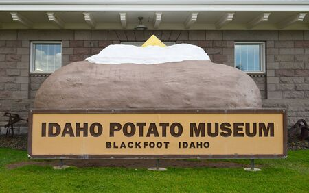 BLACKFOOT, IDAHO, JUNE 28, 2017: Giant Baked Potato at the Idaho Potato Museum. The museum showcasing the history of the potato is housed in the historic Oregon Short Line Railroad Depot. Editorial