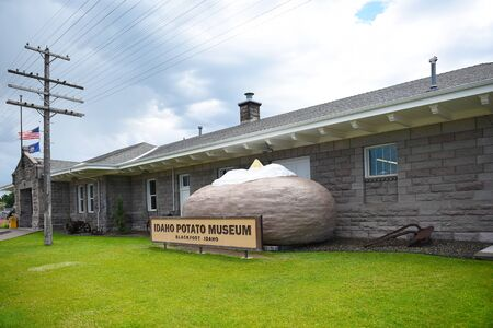 BLACKFOOT, IDAHO, JUNE 28, 2017: Giant Baked Potato at the Idaho Potato Museum. The museum is housed in the historic Oregon Short Line Railroad Depot. Editorial