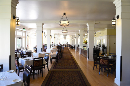 YELLOWSTONE NATIONAL PARK, WYOMING - JUNE 25, 21017: The Lake Hotel Dining Room. The oldest and finest accommodation in the park is celebrating its 125th anniversary. Editorial