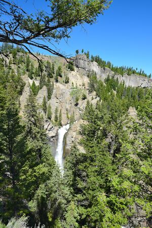 Tower Fall in Yellowstone National Park plunges 132 feet into Tower Creek. The name comes from the rock pinnacles at the top of the waterfall.