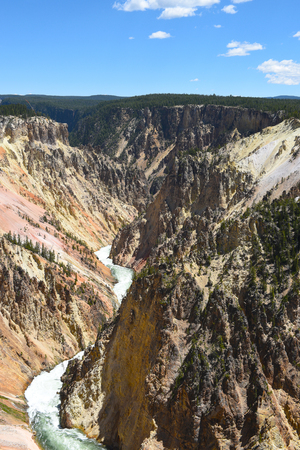 The Grand Canyon of the Yellowstone. The canyon is approximately 24 miles long, between 800 and 1,200 feet deep and varies from a quarter mile to three quarters of a mile wide.