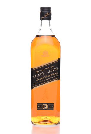 IRVINE, CALIFORNIA - JULY 10, 2017: Johnnie Walker Black Label. A 70 proof blend of about 40 whiskies, each aged at least 12 years. Stock Photo - 81982086