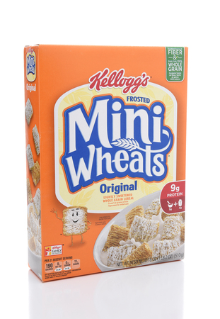 IRVINE, CALIFORNIA - JULY 10, 2017: Kelloggs Frosted Mini-Wheats. The shredded wheat cereal is coated with a sweet sugary frosting.